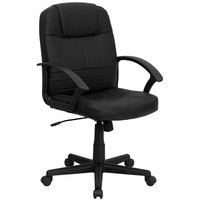 Flash Furniture BT-8075-BK-GG Mid-Back Black Leather Executive Swivel Office Chair with Polypropylene Arms