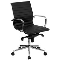 Mid-Back Black Ribbed Leather Executive Swivel Office Chair with Aluminum Arms and Coat Rack