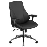 Flash Furniture BT-90068M-GG Mid-Back Black Leather Executive Swivel Office Chair with Padded Chrome Arms
