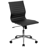 Flash Furniture BT-9836M-2-BK-GG Mid-Back Black Ribbed Leather Swivel Conference Chair with No Arms and Coat Rack