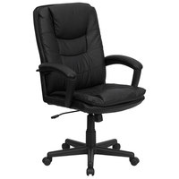 Flash Furniture BT-2921-BK-GG High-Back Black Leather Executive Swivel Office Chair with Leather Arms and Thick Padded Seat