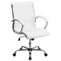Flash Furniture GO-1297M-MID-WHITE-GG Mid-Back White Designer Leather Executive Office Chair with Chrome Arms and Foam-Molded Seat
