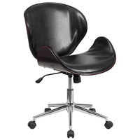 Flash Furniture SD-SDM-2240-5-MAH-BK-GG Mid-Back Black Leather Mahogany Wood Conference Swivel Chair