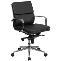 Mid-Back Black Leather Executive Swivel Office Chair with Chrome Arms and Coat Rack