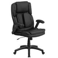 Flash Furniture BT-90275H-GG High-Back Black Leather Executive Swivel Office Chair with Outer Lumbar Support and Flip-Up Arms