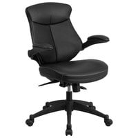 Flash Furniture BL-ZP-804-GG Mid-Back Black Leather Office Chair / Task Chair with Back Angle Adjustment and Flip-Up Arms