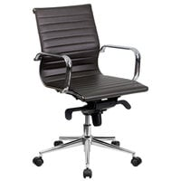 Flash Furniture BT-9826M-BRN-GG Mid-Back Brown Ribbed Leather Executive Swivel Office Chair with Aluminum Arms and Coat Rack