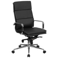 Flash Furniture BT-9895H-6-BK-GG High-Back Black Leather Executive Swivel Office Chair with Chrome Arms and Coat Rack