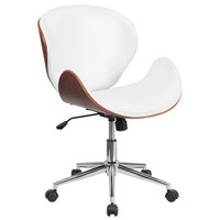 Flash Furniture SD-SDM-2240-5-WH-GG Mid-Back White Leather Walnut Wood Conference Swivel Chair