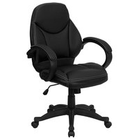 Flash Furniture H-HLC-0005-MID-1B-GG Mid-Back Black Leather Contemporary Executive Office Swivel Chair