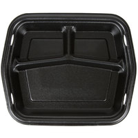 Genpak 50310-3L Smart-Set 8 7/8 inch x 10 5/8 inch Black Rectangular 3-Compartment Foam Serving Tray - 250/Case