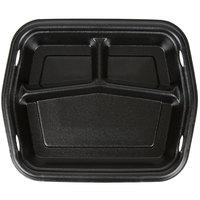 Genpak 50310-3L Smart-Set 8 7/8 inch x 10 5/8 inch Black Rectangular 3-Compartment Foam Serving Tray - 250/Case