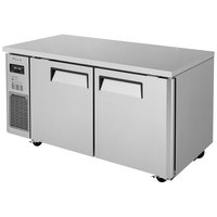 Turbo Air JUR-60N J Series 60 inch Narrow Depth Solid Door Undercounter Refrigerator with Side Mounted Compressor