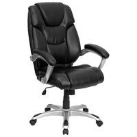 High-Back Black Leather Executive Office Chair with Padded Arms and Chrome Base