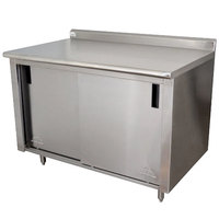 Advance Tabco CF-SS-304M 30 inch x 48 inch 14 Gauge Work Table with Cabinet Base and Mid Shelf - 1 1/2 inch Backsplash