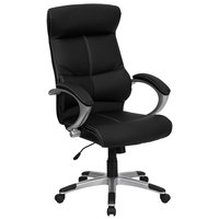 Flash Furniture H-9637L-1C-HIGH-GG High-Back Black Leather Contemporary Executive Office Chair with Built-In Lumbar Support and Padded Arms