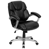 Flash Furniture GO-931H-MID-BK-GG Mid-Back Black Leather Office Chair / Task Chair with Padded Arms and Chrome Base