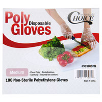 Choice Disposable Poly Gloves - Medium for Food Service - 100/Pack