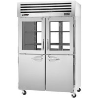 Turbo Air PRO-50R-GSH-PT 52 inch Premiere Pro Series Two Section Pass-Through Refrigerator with Solid and Glass Half Doors - 49 Cu. Ft.