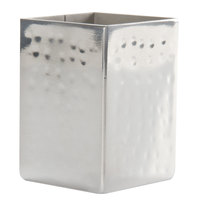 American Metalcraft HMSPT5 2 inch x 2 inch Square Hammered Stainless Steel Sugar Packet / Cube Holder