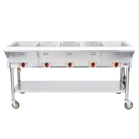 APW Wyott PST-5 Five Pan Exposed Portable Steam Table with Coated Legs and Undershelf - 2500W - Open Well, 120V