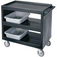 Cambro BC235110 Black Three Shelf Service Cart - 37 1/4 inch x 21 1/2 inch x 34 5/4 inch