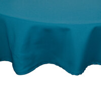 132 inch Teal Round Hemmed Polyspun Cloth Table Cover