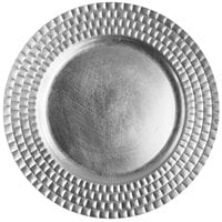 The Jay Companies 13 inch Round Silver Tiled Polypropylene Charger Plate