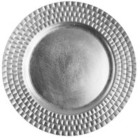 The Jay Companies 1182770 13 inch Round Silver Tiled Plastic Charger Plate
