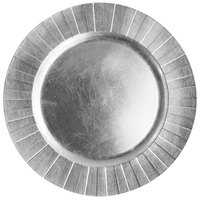 The Jay Companies 13 inch Round Silver Geometric Polypropylene Charger Plate