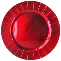 The Jay Companies 13 inch Round Red Geometric Polypropylene Charger Plate