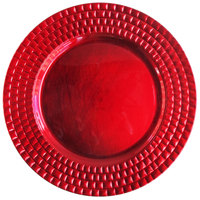 The Jay Companies 13 inch Round Red Tiled Polypropylene Charger Plate