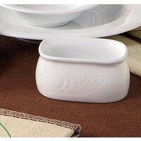 CAC RSV-HSP Roosevelt 3 1/2 inch Super White Porcelain Sugar Packet Holder - 48 / Case