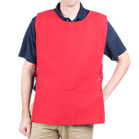 29 inch x 17 1/2 inch Red Poly-Cotton Cobbler Apron with Two Pockets
