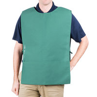 29 inch x 17 1/2 inch Hunter Green Poly-Cotton Cobbler Apron with Two Pockets