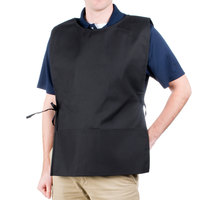 29 inch x 17 1/2 inch Black Poly-Cotton Cobbler Apron with Two Pockets