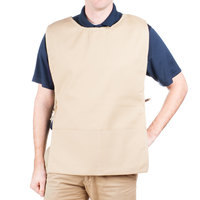 29 inch x 17 1/2 inch Beige Poly-Cotton Cobbler Apron with Two Pockets