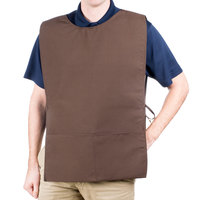 29 inch x 17 1/2 inch Brown Poly-Cotton Cobbler Apron with Two Pockets