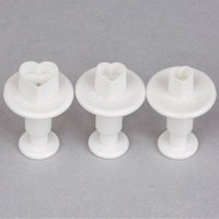 Ateco 1941 3-Piece Heart Plastic Plunger Cutter Set