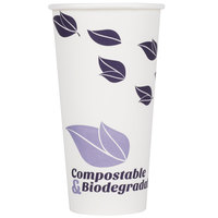 EcoChoice 20 oz. Leaf Print Compostable and Biodegradable Paper Hot Cup   - 600/Case
