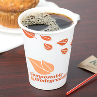 compostable paper hot cup filled with coffee