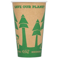 EcoChoice 16 oz. Kraft Compostable and Biodegradable Paper Hot Cup with Tree Design - 50/Pack