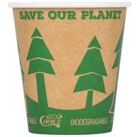EcoChoice 10 oz. Kraft Compostable and Biodegradable Paper Hot Cup with Tree Design - 1000/Case