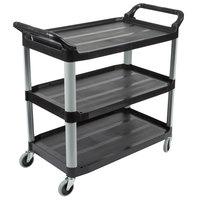 Rubbermaid FG409100BLA Xtra Black 300 lb. Three Shelf Utility Cart / Bus Cart 40 inch x 20 inch x 37 inch