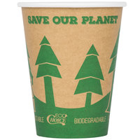EcoChoice 12 oz. Kraft Compostable and Biodegradable Paper Hot Cup with Tree Design - 50/Pack