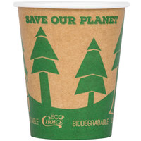 EcoChoice 8 oz. Kraft Tree Print Compostable Paper Hot Cup - 50/Pack