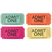Carnival King Assorted 1-Part Admit One Tickets Set - Green, Orange, Magenta, Yellow