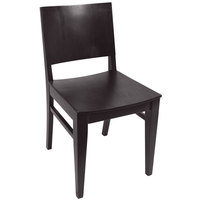 BFM Seating SWC305EB-EB Dover Ebony Colored Beechwood Side Chair with Wooden Seat
