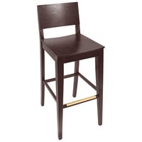 BFM Seating SWB305CW-CW Dover Classic Walnut Colored Beechwood Bar Height Chair with Wooden Seat