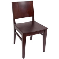 BFM Seating SWC305RM-RM Dover Royal Mahogany Colored Beechwood Side Chair with Wooden Seat